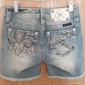 5 Pocket  ,Powder Blue Miss Me , Mid-Rise Shorts